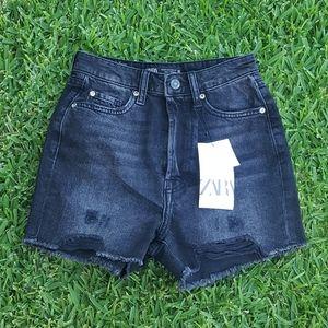 Zara Denim Distressed High Waisted Shorts NWT sz 0